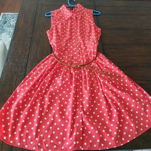 Red polka dot dress with belt